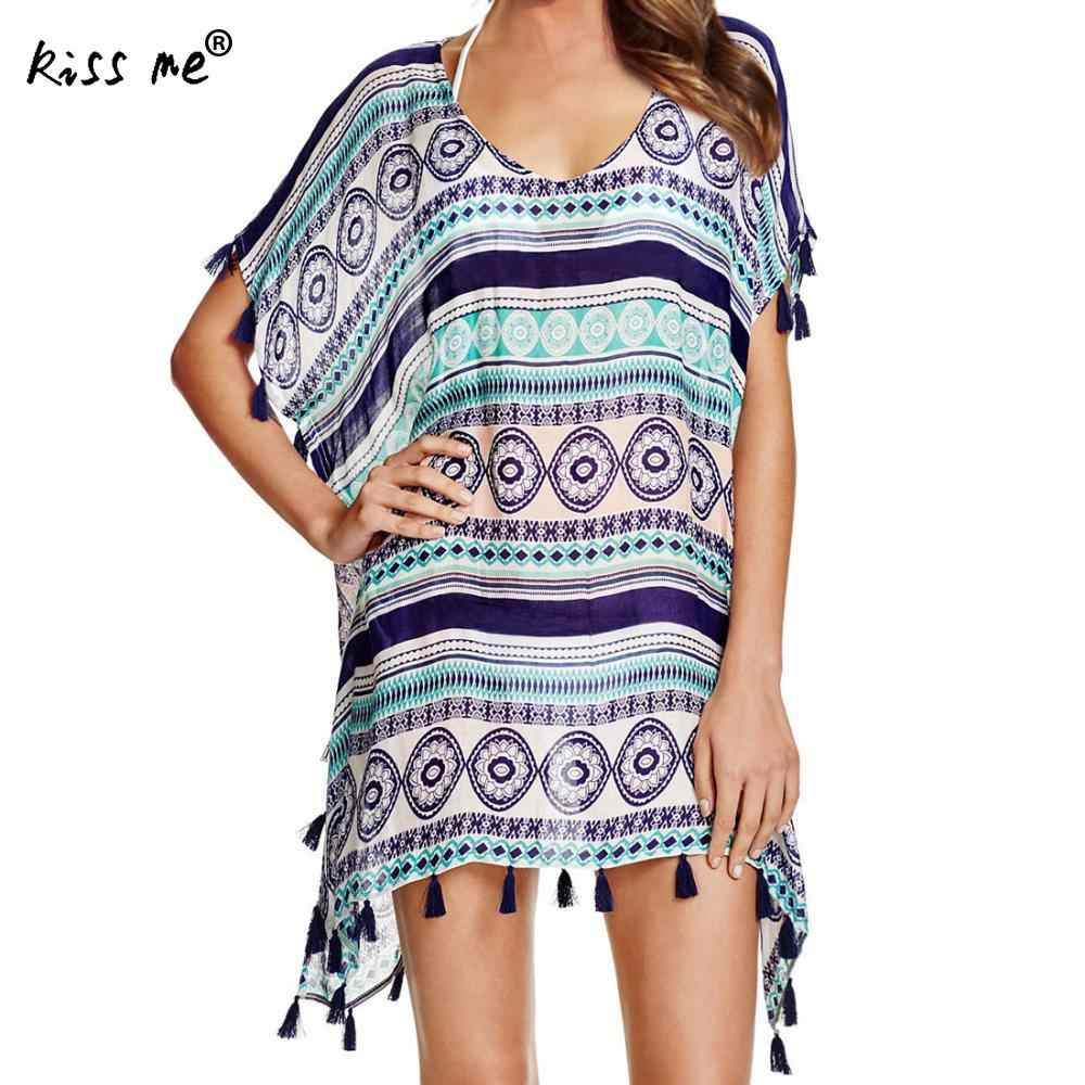 035497a8337 2018 Sexy Printed Swimsuit Cover Up Beachwear Loose Tassels Bathing Suit  Cover Ups 2018 Summer Bikini