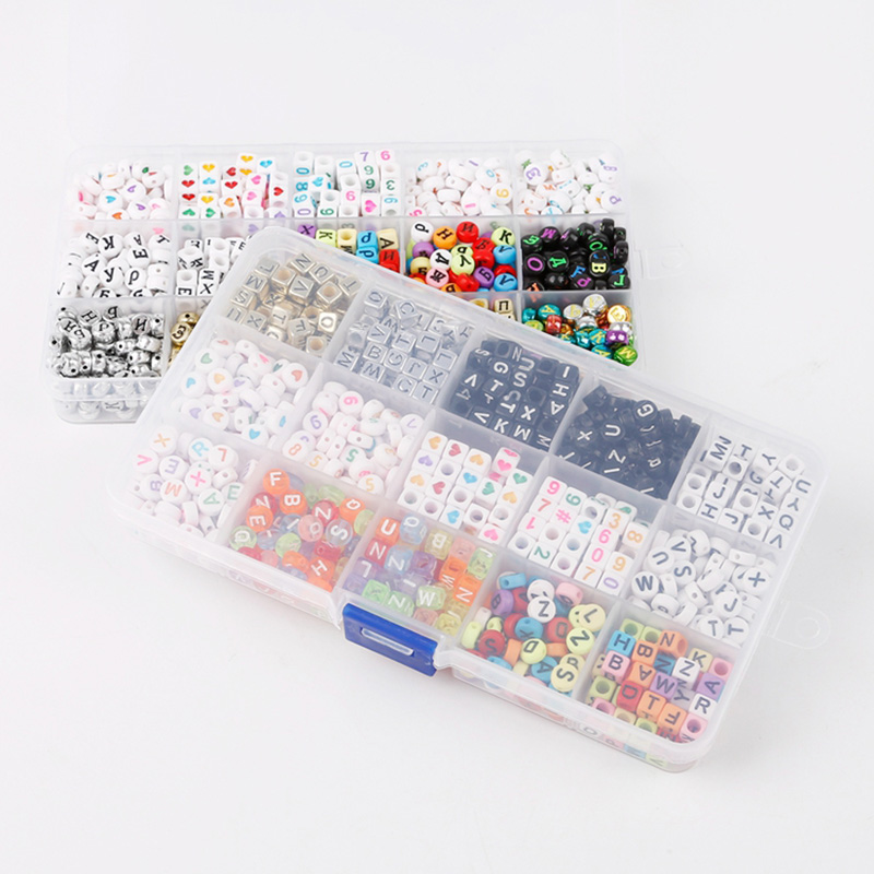 1000 Pcs/Set Alphabet Letters Puzzle Beads Toys DIY Mixed Acrylic Colorful Beads Game With Acrylic Box