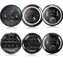 2Psc 7 Inch LED Headlight H4 Hi-Lo With Halo Angel Eyes For Lada 4x4 urban Niva Jeep JK Land rover defender Hummer