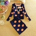 El equipo del otoño nueva sweet orange figura de manga larga render suéter capa fruit imprimir suéter de las mujeres determinadas conjunto traje de falda corta