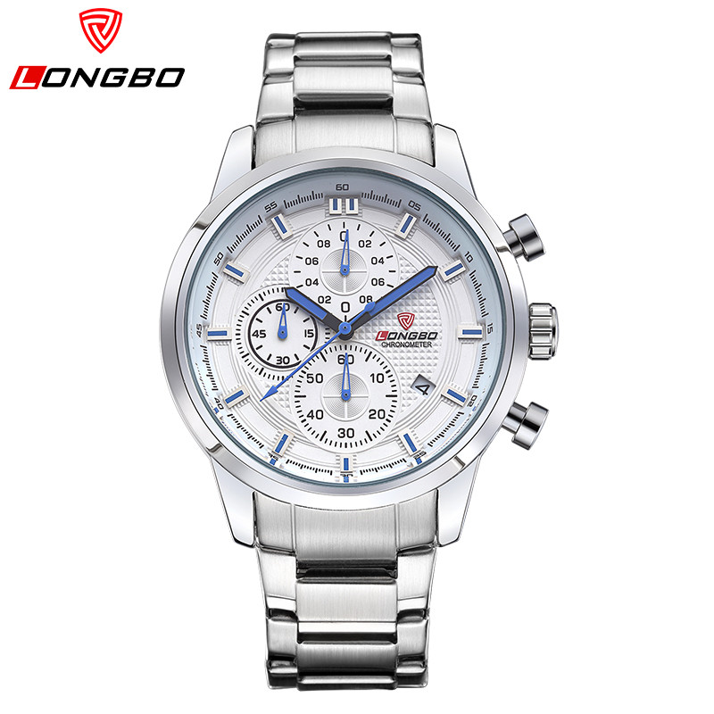 LONGBO Luxury Brand Men Watches Chronograph Stainless Steel Quartz Watch Men Waterproof Casual Wrist Watch Relogio
