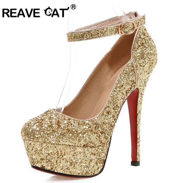 c33f150829c REAVE CAT 13.5cm Stiletto Ultra high heels Glitter Wedding Pumps Platform Ankle  strap Buckle Gold silver Bridal Shoes party US12
