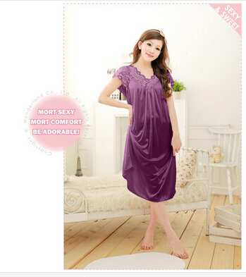 Free shipping women White lace sexy nightdress girls plus size Large size Sleepwear nightgownY02-1 2