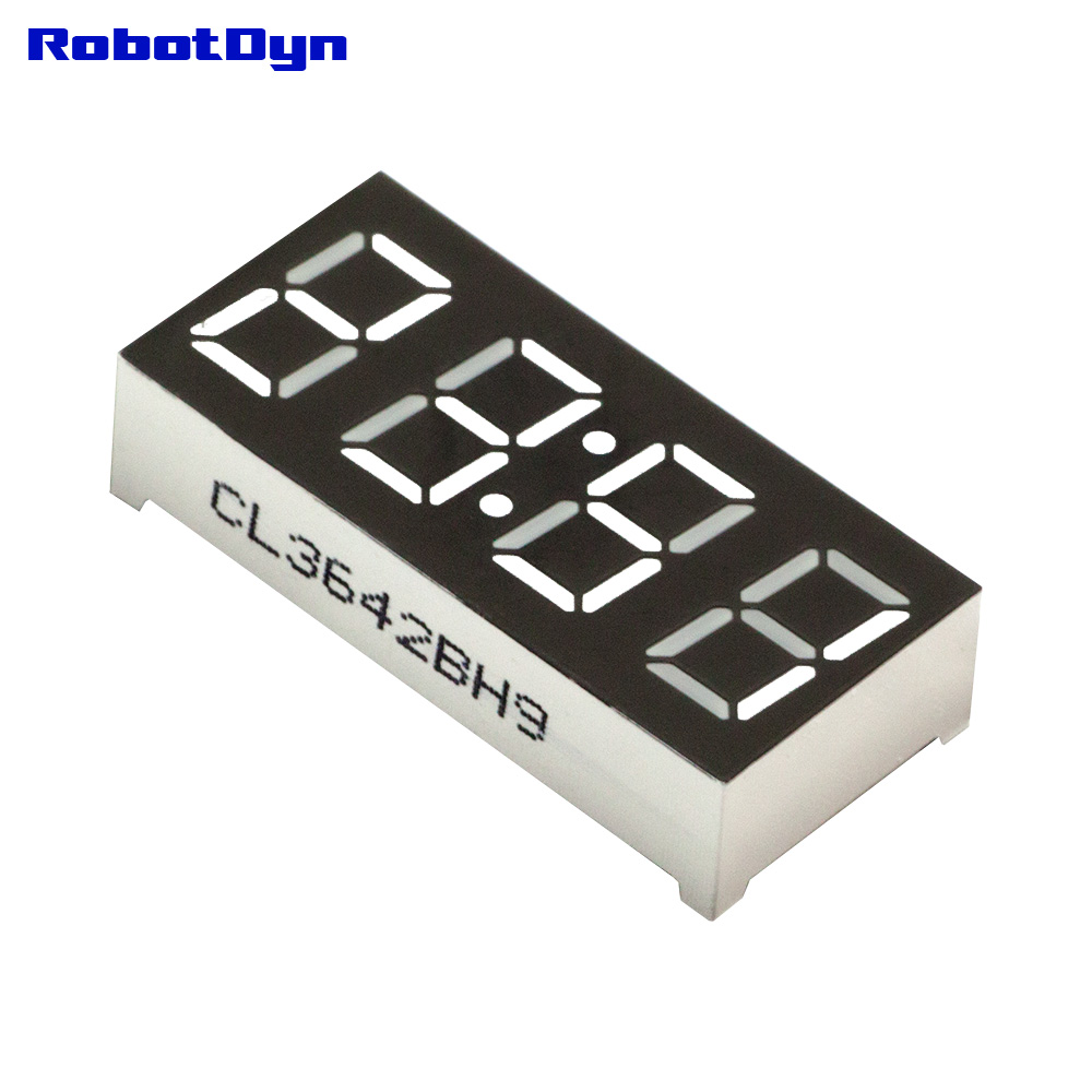 5 шт. = 4-цифра 7-сегментов светодиодный Дисплей, часы/doubledots, белый, disp. Размер 50x19 мм, 0.56