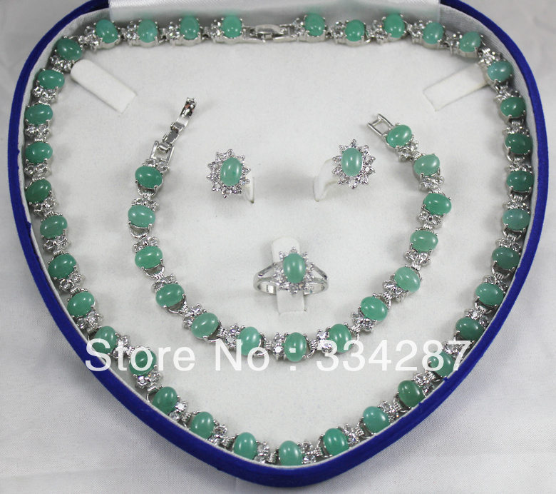 New Listed !Free Shipping 6x8MM Bead Light green jade Necklace Bracelet Earring Jewelry Set + good New Listed !Free Shipping 6x8MM Bead Light green jade Necklace Bracelet Earring Jewelry Set + good