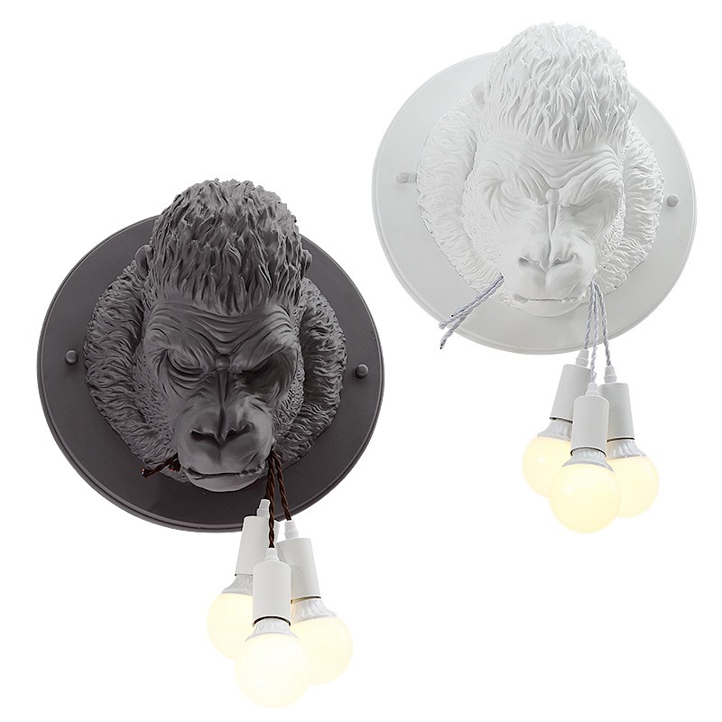 Creative Industrial Decorative Wall Light For Bar Restaurant Clothes Shop Office White Black Resin Monkey Vintage