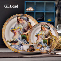 GLLead European Style Palace Painting Bone China Tableware Dinner Service Home Kitchen Beef Steak Dish Cutlery And Cup Saucer