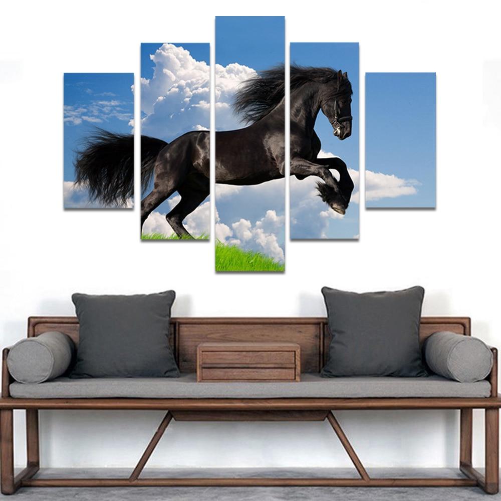 Unframed HD Print 5 Canvas Art Painting Black Horse Living Room Decoration Painting Mural Unframed Custom Made
