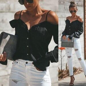 Frauen Off Schulter V-ausschnitt Mit Langen Ärmeln Reine farbe Tops Lose Bluse Shirt One-schulter V-ausschnitt Mit langen ärmeln solide farbe sling shi