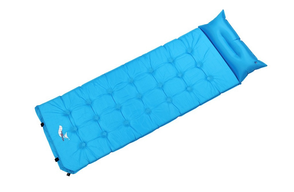 ФОТО Single size outdoor camping automatic inflatable cushion automatic inflatable camping mat with pillow