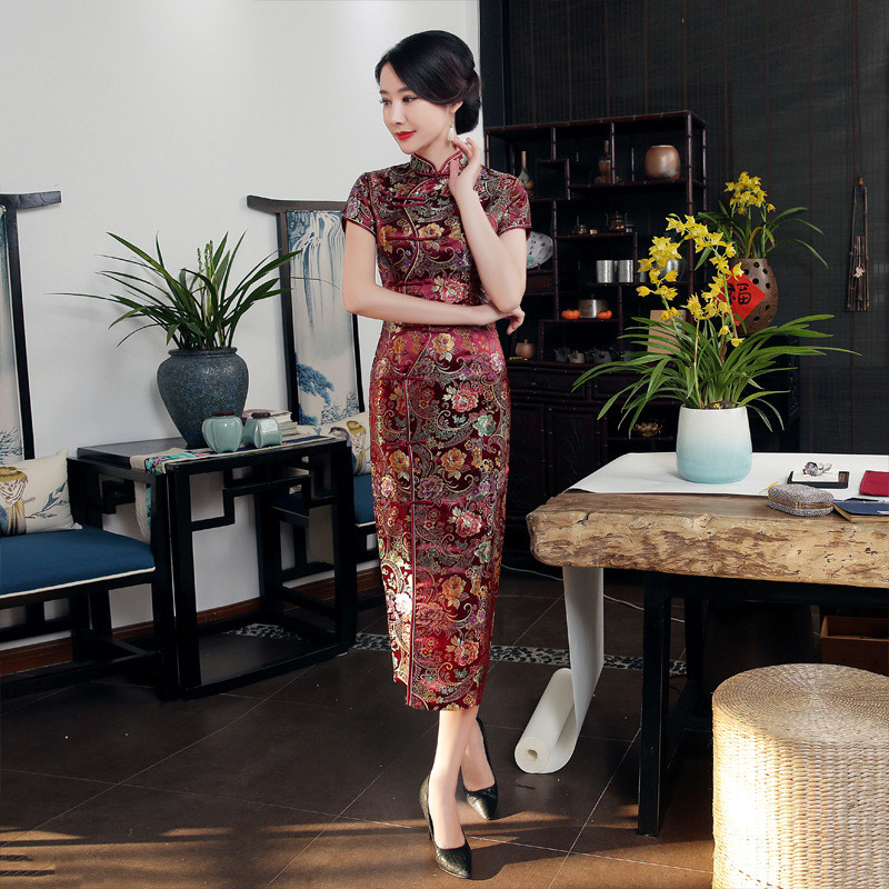 Big Size 3XL Burgundy Satin Cheongsam Traditional Chinese Ladies Qipao Summer Short Sleeve Long Dress Vintage Button Vestidos