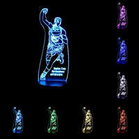 USB 3D Lamp LED Night Light Basktball Star 7 Colors Acrylic Discoloration Colorful Atmosphere Novelty Light