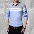 2016 Ropa de Moda Para Hombre Camisas de Marca Slim Fit Patchwork Raya Ropa Masculina Camisa de Manga Larga para Hombres de la Camiseta Masculina