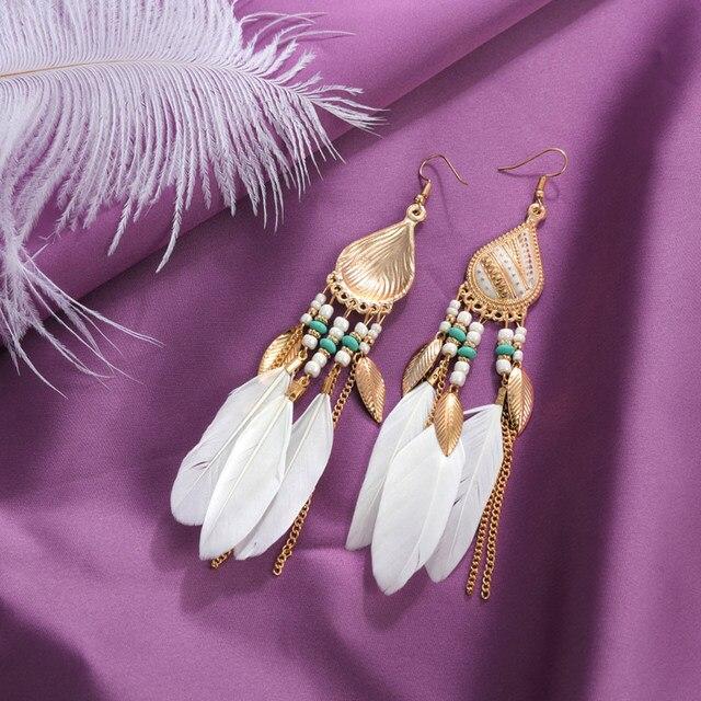 ZOSHI Bohemian Tassel Earrings for Women Dangle Long Earrings Feather Boho Drop Earrings Seed Beads Vintage Jewelry Brincos 5