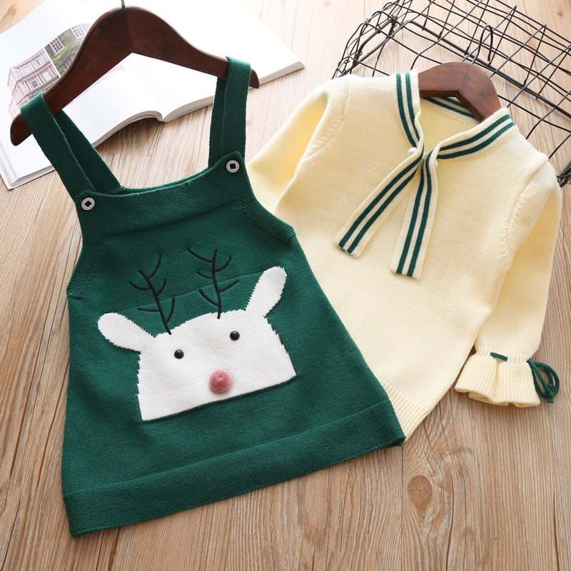 2018 Autumn Winter New Girls sweater dress Set Kids Baby Sweater Children Clothing Cotton Knitted Cartoon Outfit Pullover Suit