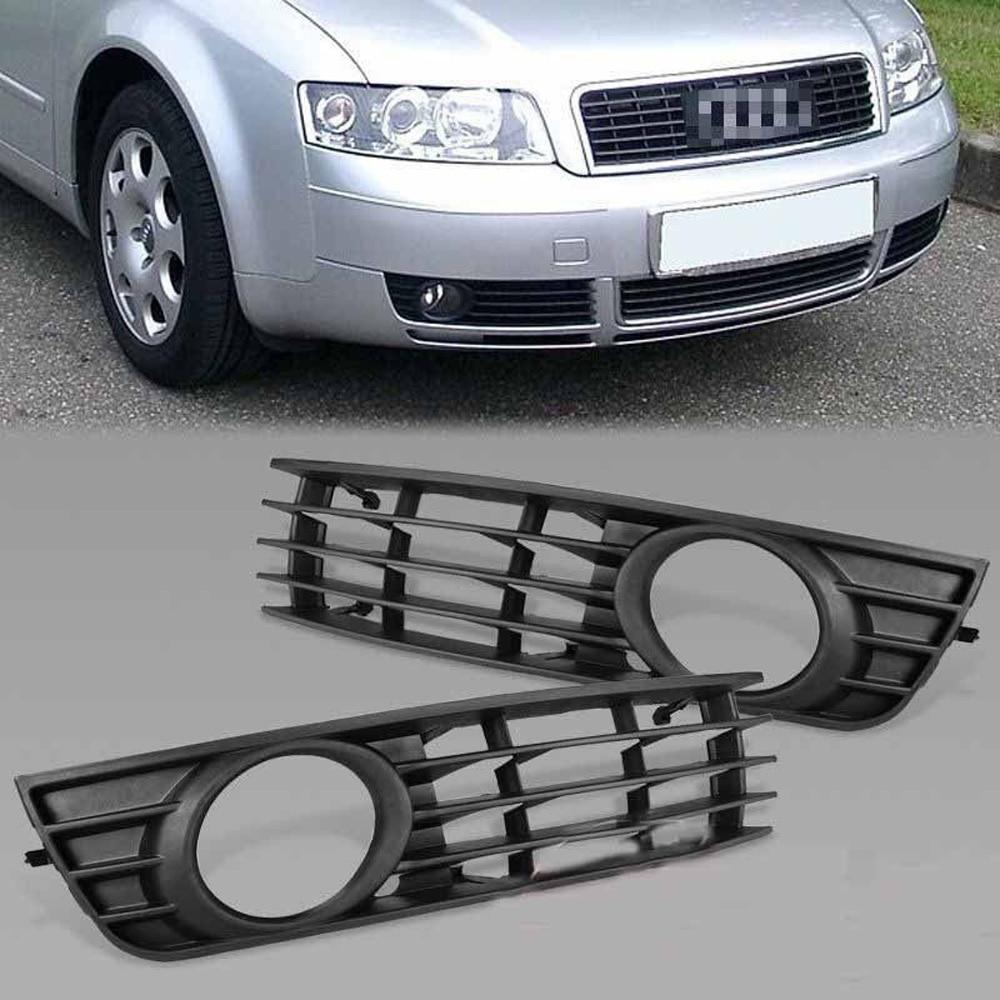 1 Pair Front Bumper Lower Fog Light Grille Cover for Audi A4 B6 02-05 ownsun innovative super cob fog light angel eye bumper cover for skoda fabia scout