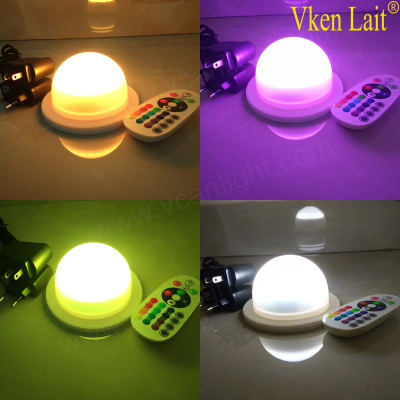 DHL 48 LEDS Free Shipping 6W 16 Color LED RGB Magic Spot Light Bulb Lamp Wireless