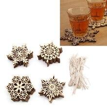 10 Pcs Wood Snowflake Embellishments Rustic Christmas Decorations