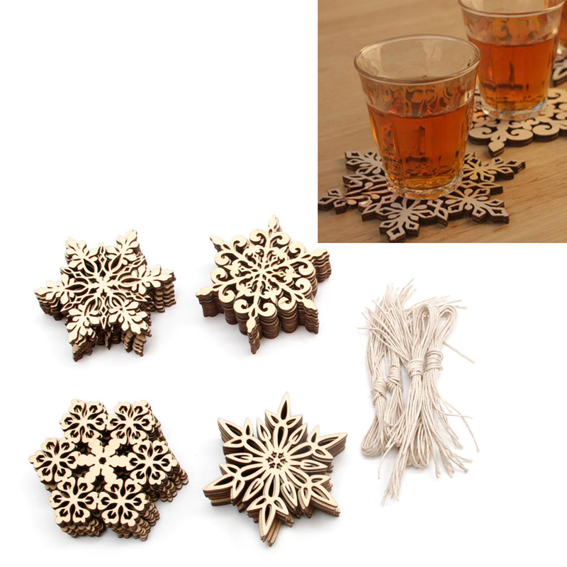 unids madera copo de nieve adornos de navidad rstico para el hogar ornamento colgante