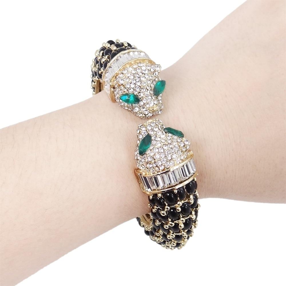 Tuliper Black Kiss Panther Leopard Animal Bracelet Bangle Austrian - Fashion Jewelry - Photo 2