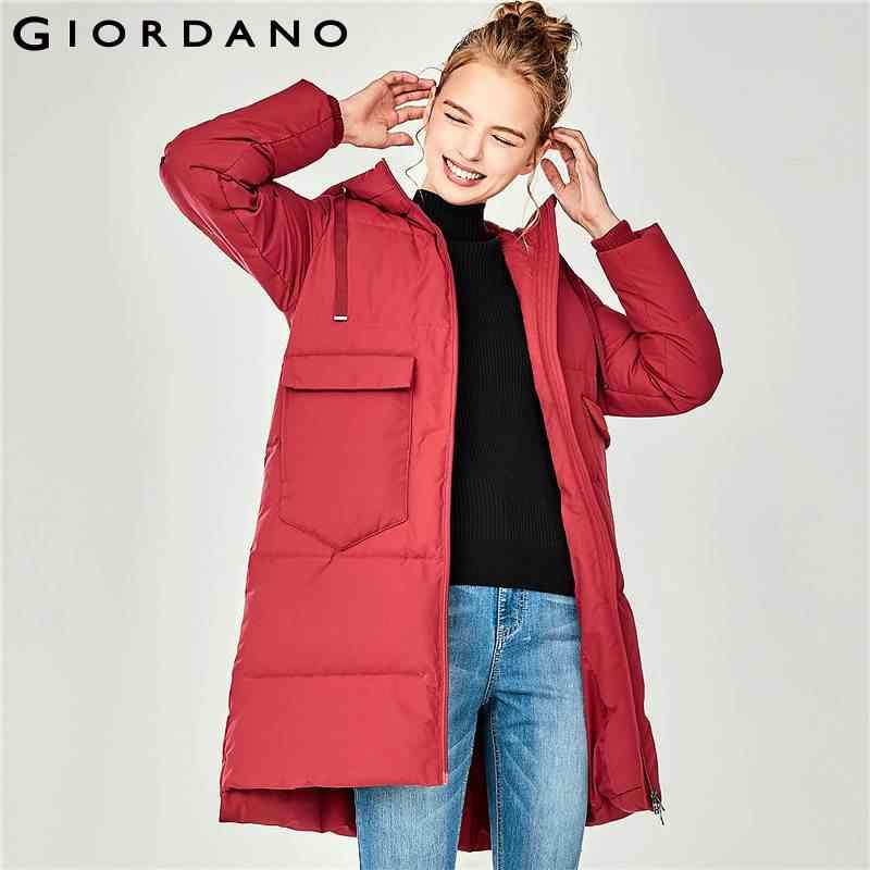 Giordano женский пуховик с длинным подолом и съемным капюшоном, Из натурального утиного пуха.