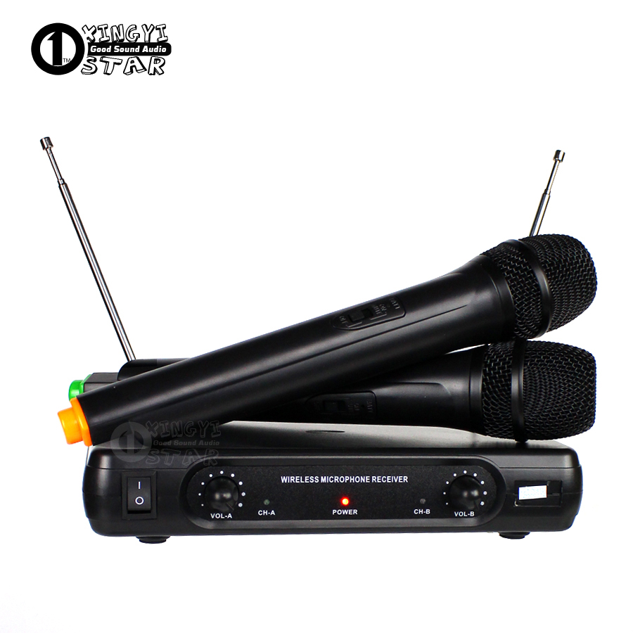 Professional Wireless Microphone Karaoke System Dual Handheld Mic Cordless Receiver Mike For Mixer Audio Sing Microfone Sem Fio  professional switch dynamic wired microphone stand metal desktop holder for beta 58 bt 58a ktv karaoke mic microfone audio mixer
