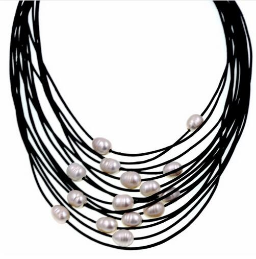 Wholesale free shipping 10 11mm Real White Freshwater Pearl Necklace Leather Cord Magnet Clasp leathers beaded necklace