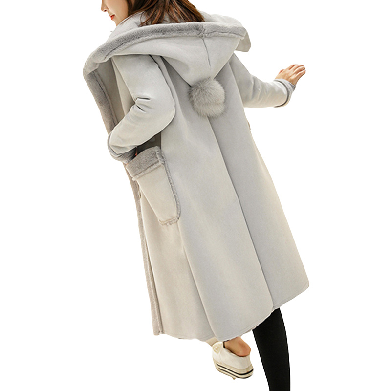 2017 Winter Coat Women Long Suede Jacket Lapel Warm Patchwork Coats Women Lamb Wool Hooded Motorcycle Parka Jaqueta YP0680