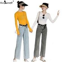 2019 new wide-leg denim women's clothing hot classic blue loose high waist large size L XL summer casual harem pants women clothing loves blue l