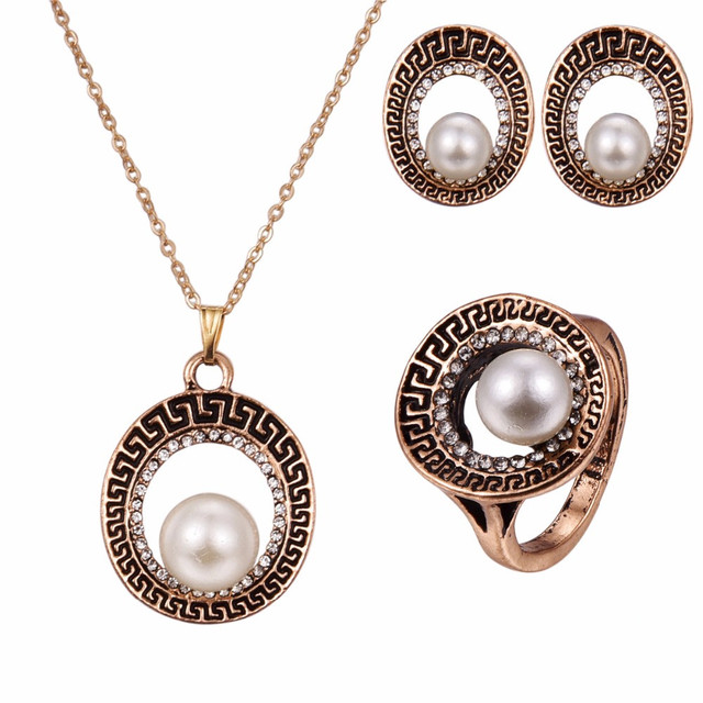 Vintage pearl jewelry sets for women antique gold full rhinestone vintage pearl jewelry sets for women antique gold full rhinestone big round carved metal pendant necklace mozeypictures Gallery