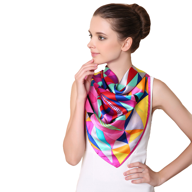 Classic Square Colorful 100% Silk Women Scarf Spring Lattice Echarpe Smooth Summer Wrap Satin Shawls Neckerchiefs