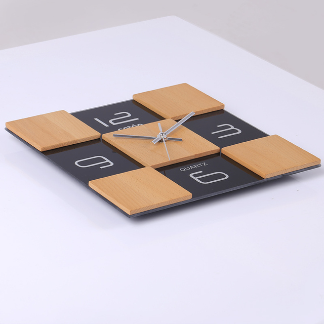 Modern design high-grade wood wall clock mute simple home decoration square black brown Environmentally friendly wall clock
