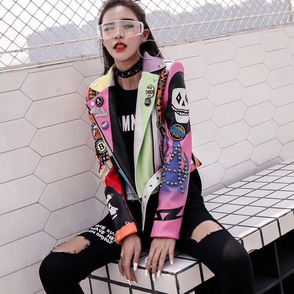 LORDXX Cropped Leather Jackets Women Hip hop Colorful Studded Coat New Spring Ladies Motorcycle Punk Cropped Jacket with belt 4