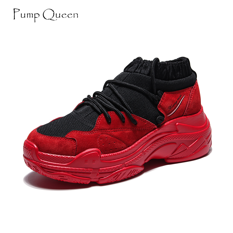 PumpQueen White Sneakers Shoes Woman Pig Leather Sewing Fashion Spring Fall Women Flats Lace Up Casual Air Mesh Feminino Zapatos instantarts women casual flats shoes ladies skull flower printed light air mesh fashion sneakers girl lace up shoes plus size