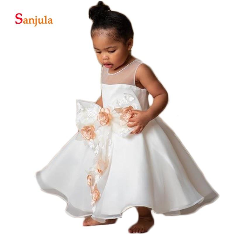 Ball Gown Cute   Flower     Girls     Dresses   Front Bow Handmade   Flowers   Sweet Children Primera Communion   Dress   Satin bloemen jurk D998