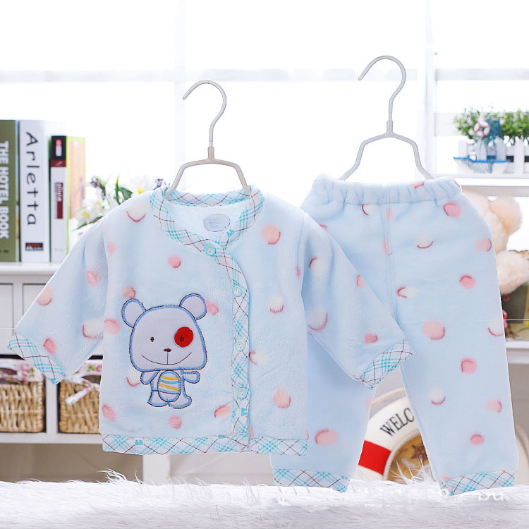 Winter Newborn 0-9M Baby boys girls Flannel Keep warm Clothes Sets Cute Cartoon baby clothes sets 2PCS