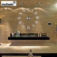 Roman Mirror 3D real big promotion home decor large 2019 New Arrival Quartz Clocks fashion watches fashion modern Free Shipping