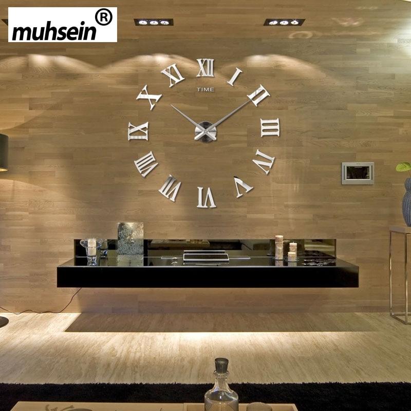 Roman Lustro 3D prawdziwa duża promocja wystrój domu duże 2019 New Arrival Zegary kwarcowe moda zegarki moda nowoczesne Darmowa wysyłka