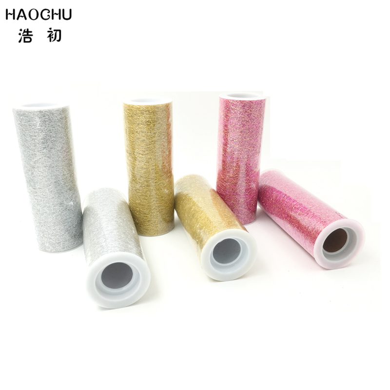 HAOCHU 6 5yards Patchwork Tulle Rolls Tissue Gauze Cloth Costumes Mesh Fabric Gift Wrap Wedding Chair Sash Christmas Decor