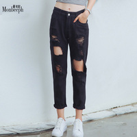 MONBEEPH brand NEW ripped Holes Harem Pants hole trousers Jeans loose boyfriend jeans for women pantalones mujer jeans