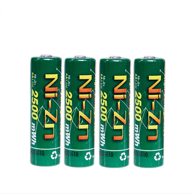 4 Pcs/lot 1.6v nizn Ni-Zn aa 2500mWh rechargeable battery 1.6v rechargeable battery Powerful than Ni-MH Ni-Cd 5 years warranty