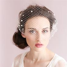 Elegant Bridal Veils Champagne Pearl Birdcage Wedding Veils High Quality White Tulle Cap Bird Cage Short Bridal Accesories(China)