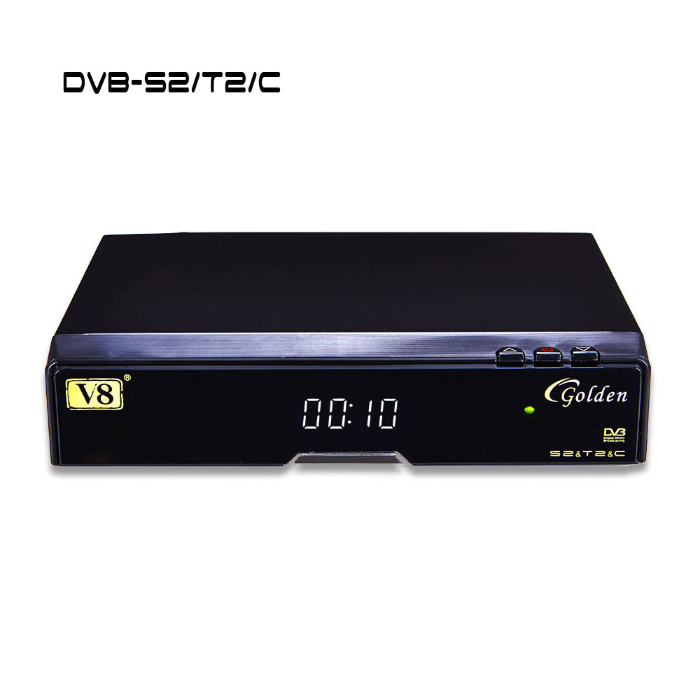 ФОТО Popular Satellite TV Decorder V8 golden DVB-S2 T2 Cable upgraded version of V8 Pro supporting full powervu, cccam, iptv, 3G