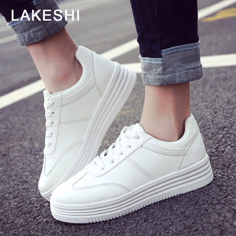 LAKESHI Casual Women Shoes Flat Platform Shoes Women Creepers Lace Up Thick Bottom White Shoes Women Flats Skate Board Shoes beffery women s shoes british style patent leather flat shoes fashion thick bottom platform shoes for women lace up casual shoes