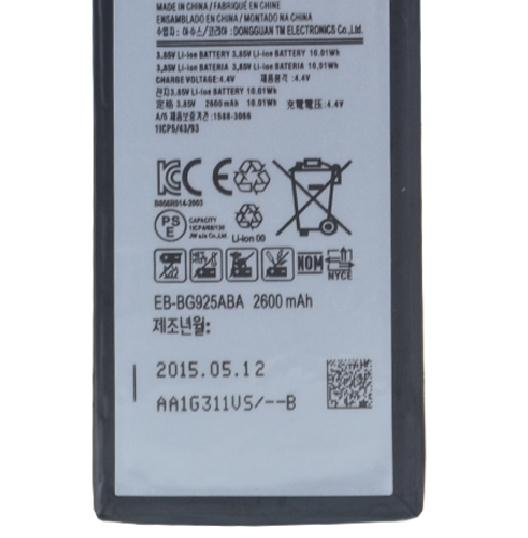 Free shipping high quality mobile phone battery EB-BG925ABA for Samsung Curved screen Galaxy S6 Edge G9250 G925L G925S G925K