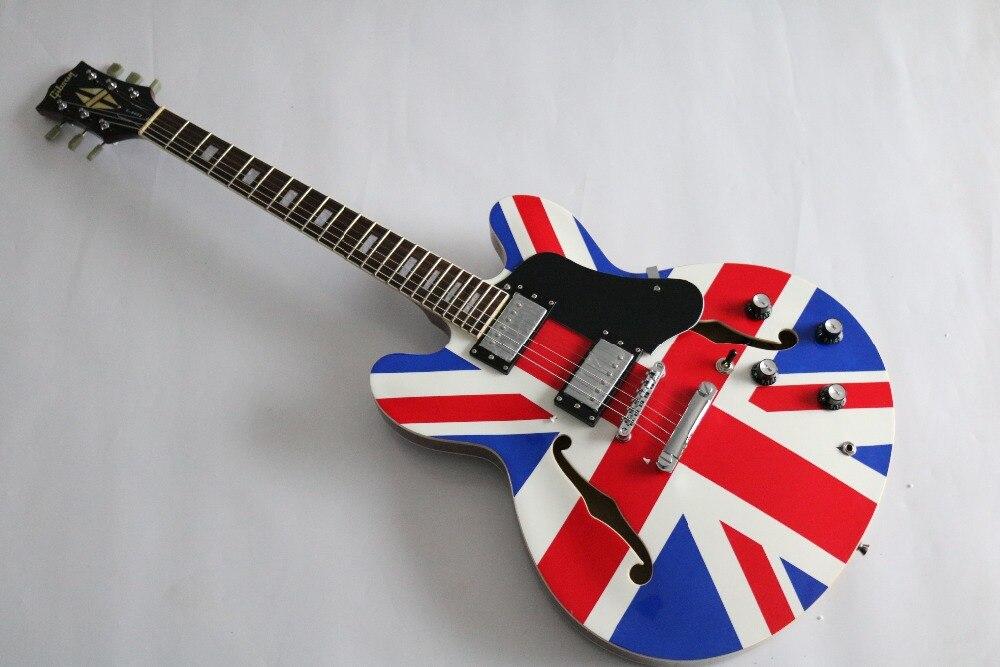 best price custom shop es335 es335 union jack design electric electric guitar freeshipping. Black Bedroom Furniture Sets. Home Design Ideas