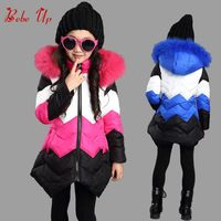 Children's Winter Long Jackets Girls Winter Padded Coats With Fur Hood Rainbow Colorful Striped Fashionable Teenager Clothes