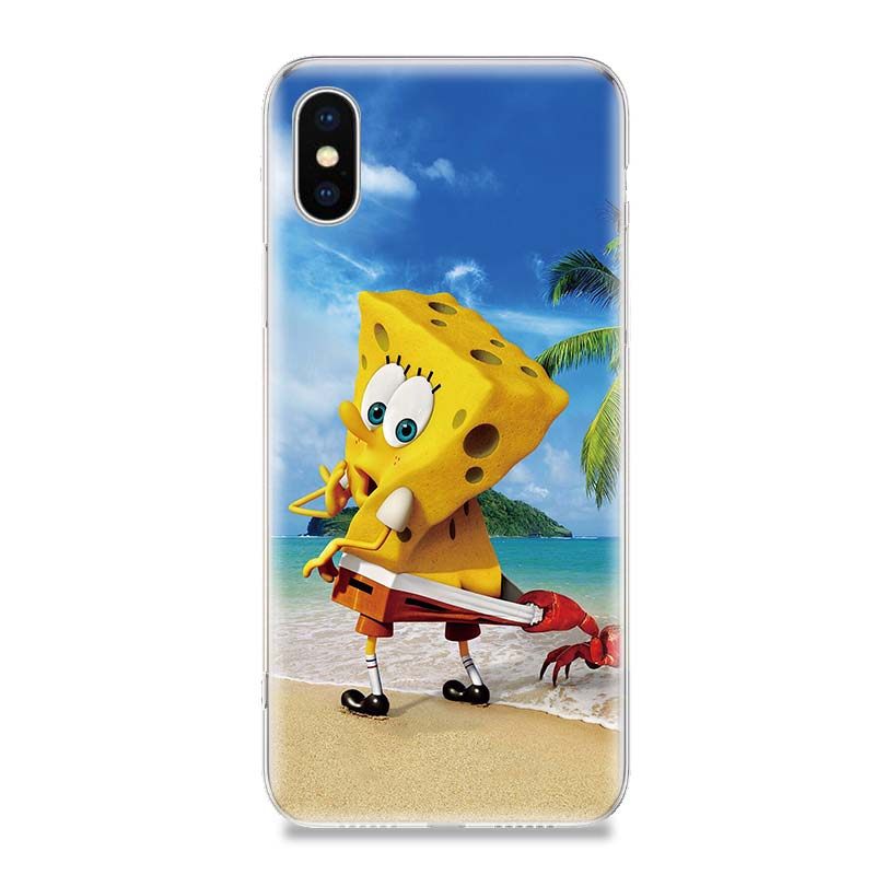 SquarePants Cartoon Phone Case For iPhone 7 8 6 6S Plus X 10 Ten XS MAX XR 5S SE Customized Art TPU Cover Coque Capa Cas Shell in Half wrapped Cases from Cellphones Telecommunications