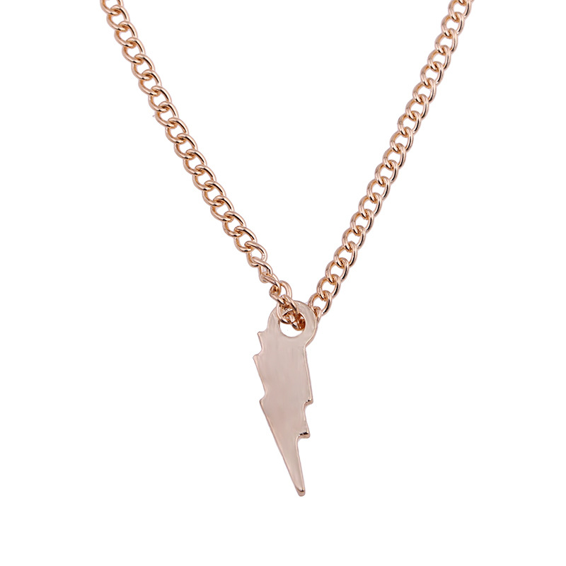 New Golden Plated Strength Power Lightning Alloy Clavicular Bones Pendant Short Chocker Necklace