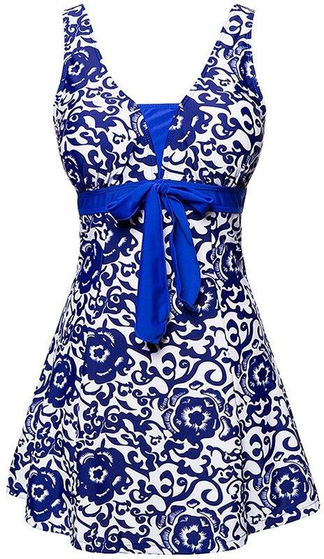 2017 г. пикантные Для женщин One piece печати купальный костюм юбка плюс Размеры M ~ 4XL платье Мягкий ванный комплект Монокини летняя пляжная одежда